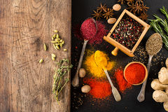 Spices and herbs. Collection of spices and herbs royalty free stock photography