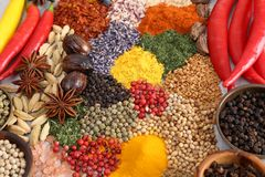Spices and herbs. Colorful and aromatic spices and herbs. Food additives Stock Photography