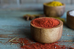 Spices. Herbs. Curry, salt, pepper Saffron, turmeric, tandori masala and other on a wooden rustic background Stock Photo