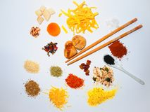 Spices , herbs , dry fruits , and pasta Stock Photography