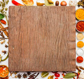Spices and herbs , Food and cuisine ingredient on rock backgroun Stock Image