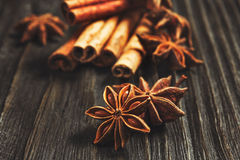 Spices and herbs. Food and cuisine ingredients. Cinnamon sticks,. Anise stars, Cloves on textured background stock photo