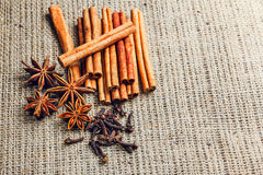 Spices and herbs. Food and cuisine ingredients. Cinnamon sticks,. Anise stars,  Cloves on textured background Stock Images