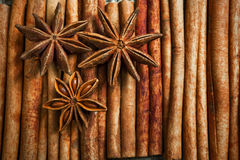 Spices and herbs. Food and cuisine ingredients. Cinnamon sticks,. Anise stars, Cloves on textured background Royalty Free Stock Photography