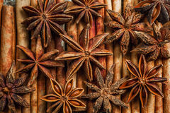 Spices and herbs. Food and cuisine ingredients. Cinnamon sticks,. Anise stars, Cloves on textured background stock photography