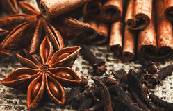 Spices and herbs. Food and cuisine ingredients. Cinnamon sticks. Anise stars, Cloves on textured background stock photos