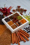 Spices and herbs on the gray kitchen table: star anise, fragrant pepper, cinnamon, nutmeg, bay leaves, paprika close up. Spices texture background. Ingredients royalty free stock image