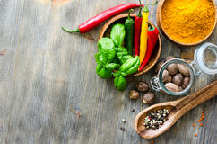 Spices and herbs for healthy cooking copy space background Stock Image