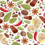 Spices and herbs icons background pattern Stock Photo