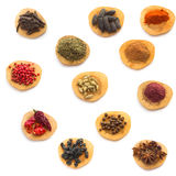 Spices and herbs isolated on white Stock Photos