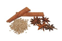 Spices and herbs on white background stock photos