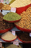Spices And Herbs In The Market. Cardamon, dates and other spices and herbs in a market in Delhi, India Stock Photography