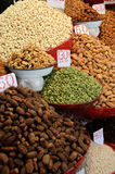 Spices And Herbs In The Market. Cardamon, dates, nuts and other spices and herbs in a market in Delhi, India Royalty Free Stock Photography