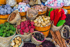 Spices and herbs on market Stock Images
