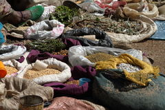 Spices and herbs on the market of Debark Royalty Free Stock Photography