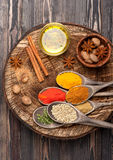 Spices, herbs and olive oil Royalty Free Stock Photo
