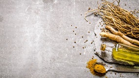 Spices , herbs and olive oil on a stone stand. Stock Photography