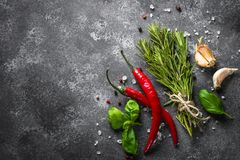 Spices and herbs over black stone table. Food background. Top view, Copy space stock image