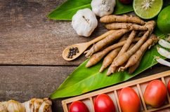 Spices and herbs over wooden background Royalty Free Stock Photography