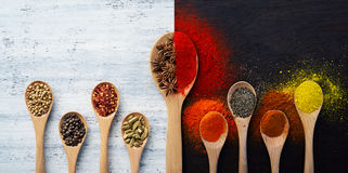 Spices, Herbs, Powders and Ground Spices Stock Images