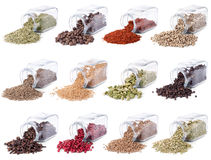 Spices and herbs are scattered on a white Stock Image