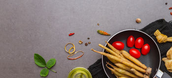 Spices and herbs selection background. Stock Images