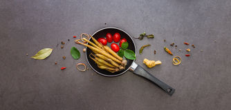 Spices and herbs selection background. Stock Image