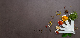 Spices and herbs selection background. Royalty Free Stock Photos