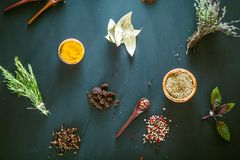 Spices and herbs. Variety of spices and mediterranean herbs. Food background Royalty Free Stock Photos