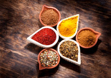 Spices, herbs and spicy in bowls Royalty Free Stock Images