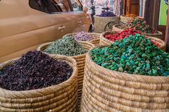 Spices and herbs  on street stal at Morocco traditional market. Royalty Free Stock Image