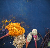 Spices and herbs. Variety of spices and mediterranean herbs. Food background Royalty Free Stock Image
