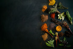 Spices. And herbs. Variety of  and mediterranean herbs. Food background Royalty Free Stock Photo