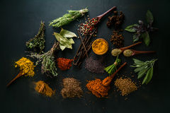Spices. And herbs. Variety of  and mediterranean herbs. Food background Stock Photo