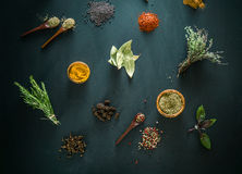 Spices. And herbs. Variety of  and mediterranean herbs. Food background Stock Photos