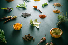 Spices. And herbs. Variety of  and mediterranean herbs. Food background Stock Image