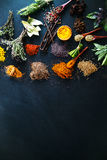Spices. And herbs. Variety of  and mediterranean herbs. Food background Royalty Free Stock Images