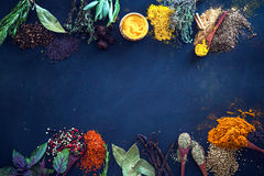Spices. And herbs. Variety of  and mediterranean herbs. Food background Royalty Free Stock Photos