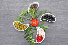 Spices and herbs. Spices,herbs and vegetable decorations Royalty Free Stock Photo