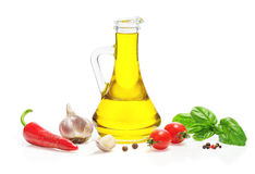 Spices, herbs, vegetable oil. Stock Image