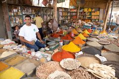 Spices and herbs vendor Royalty Free Stock Photo