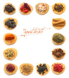 Spices and herbs white background Royalty Free Stock Images