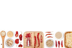 Spices and herbs  on white background. top view Royalty Free Stock Photo