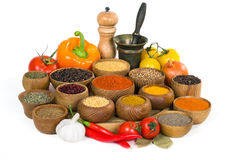 Spices and herbs on white background royalty free stock images