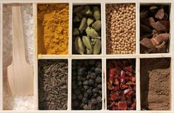 Spices and herbs in white box. conceptual top view Royalty Free Stock Photo
