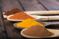 Spices and herbs in wood spoons over wooden background Stock Photography