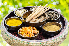 Spices and herbs in wooden bowl. With bokeh background Royalty Free Stock Photo
