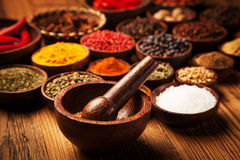 Spices and herbs in wooden bowls. Stock Photography