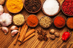 Spices and herbs in wooden bowls. Stock Images