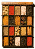 Spices and herbs in wooden box Royalty Free Stock Photo